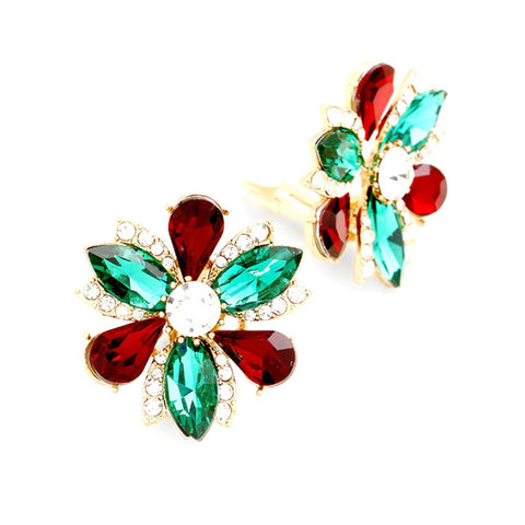 Christmas Fashion Trendy Marquise Flower Clip on Evening Earrings For Women / AZERCO763-GRG