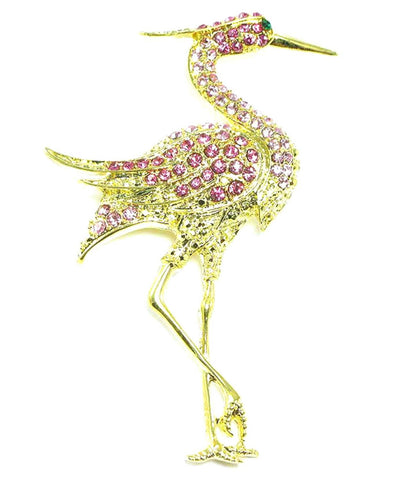 Austrian Crystal Flamingo Pin Brooch / AZFJBR426-GPI