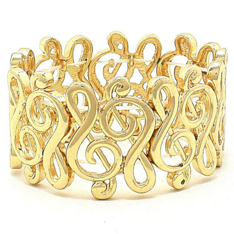 Treble Clef Stretch Bracelet / AZBBMU008-GLD
