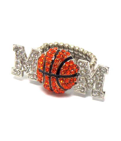 Sports MOM - Crystal Basketball Mom Stretch Ring / AZSJRI006-SIL-MOM