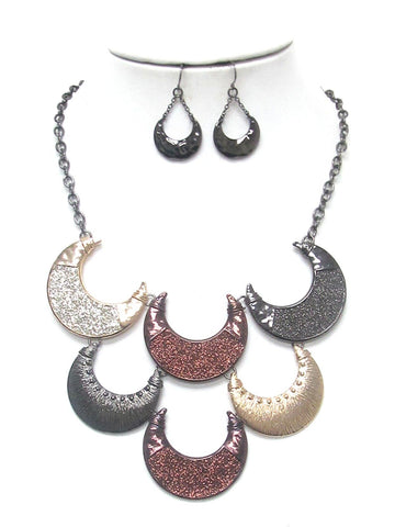 Fashion Trendy Bellydance Tribal Sandblast Crescent Necklace Set For Women / AZBTTN055-TRI