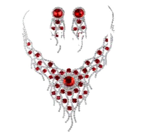 Arras Creations Fashion Trendy Rhinestone Necklace Set For Women / AZBLRH047-SRD