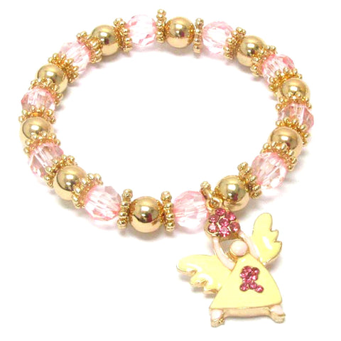 Breast Cancer Awareness Pink Ribbon Angel Stretch Bracelet For Women / AZBRBCA006-GPK