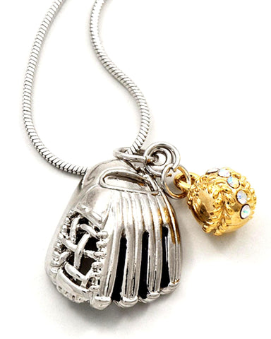 Two-tone / AB Rhinestone / Baseball Pendant Necklace / AZSJCH007-SGL