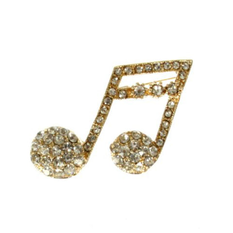 Gold-Tone Music Note Pin Brooch / AZBRMU002-GCL
