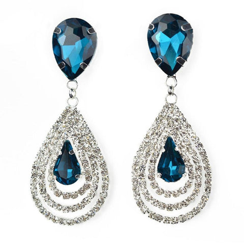 Designer Rhinestone Fashion Earrings / AZBLER002-SBL