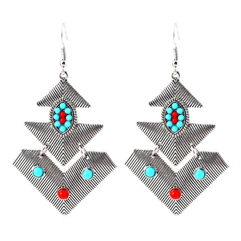 Trendy Bohemian Vintage Ethnic Drop Long Earrings / AZERAL021-ASL