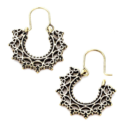 VINTAGE FILIGREE HALF CIRCLE FAN DROP EARRINGS / AZBTTE104-AGL