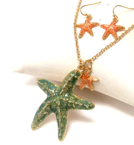 Sea Life Theme Painted Starfish Pendant Necklace Earring Set / AZNSSEA003-GGP
