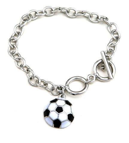 Fashion Trendy Silver Chain Soccer Ball Bracelet for Women / AZBRCH007-SWH