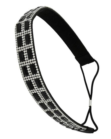 Black Glass & Clear Rhinestone Headband/Hair Accessory For Women