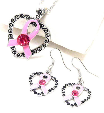 Pink Ribbon Heart Necklace Set - Breast Cancer Awareness For Women / AZNSBCA001-APK