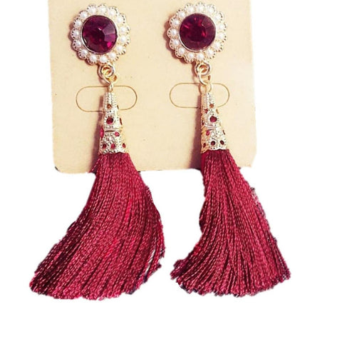 Fashion Vintage Flower Shaped Simulated Pearl Tassel Earrings For Women / AZERTSA03-ARP