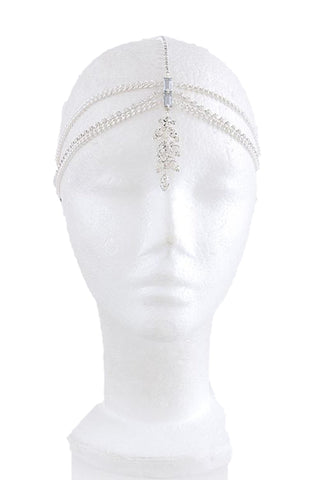 Fashion Trendy Crystal Leaf Dangle Head Chain Head Wrap Head Accessory for Women