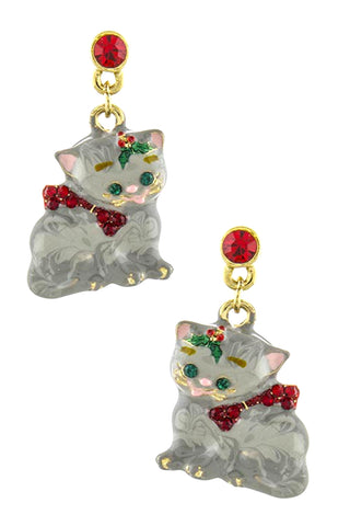 Cat With A Christmas Bow Accent Earrings
