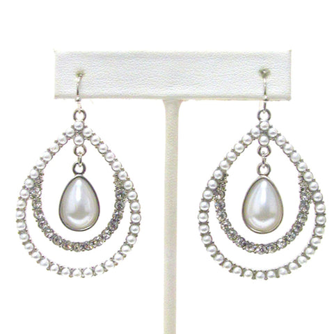 Designer Fashion Crystal and Pearl Deco Teardrop Hoop drop Earrings For Women / AZERFH161-SWH