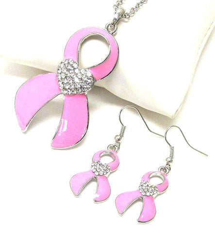 Crystal Pink Ribbon Necklace Set - Breast Cancer Awareness For Women / AZNSBCA002-SPK