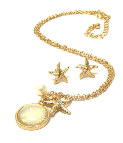 Sea Life Theme Crystal Starfish Necklace Earring Set / AZNSSEA004-GWH