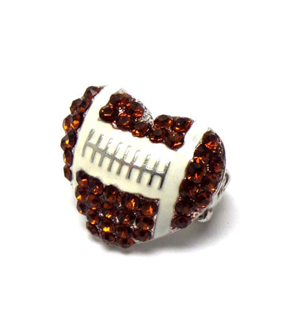 Sports Football - Crystal Football Heart Stretch Ring