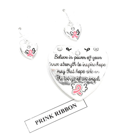 Pink Ribbon Pendant Set - Breast Cancer Awareness For Women / AZNSBCA398-SPP