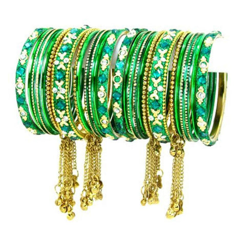 Bollywood Indian designer Bangle Set. Size:2-08. Color:Gold / Dark Green
