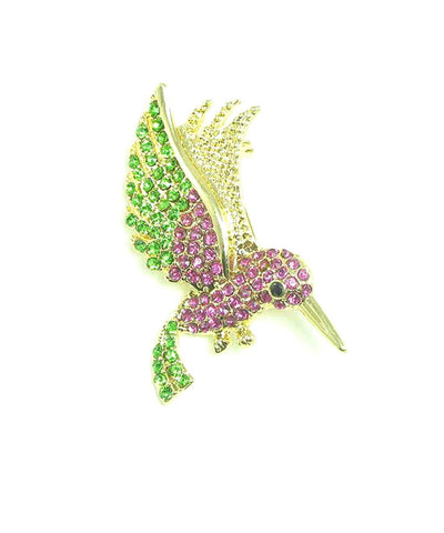 Austrian Crystal Humming Bird Pin Brooch / AZFJBR920-GPI