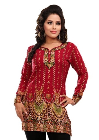 Indian Tunic Top Womens / Kurti Printed Blouse tops - AZDKJD-28D