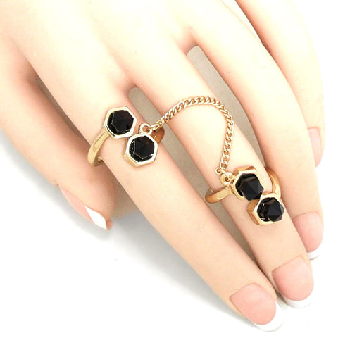 Chained Spike Double Ring