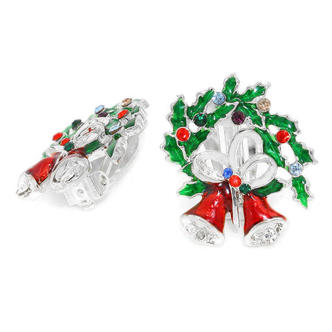 Christmas : Crystal Enamel Christmas Wreath Bell Clip on Earrings / AZERCO101-SMU-CHR