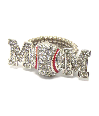 Sports MOM - Crystal BaseBall Mom Stretch Ring / AZSJRI005-SIL-MOM