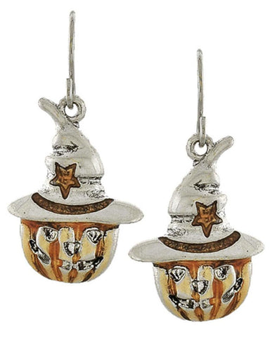 Fashion Halloween Pumpkin Dangle Fish Hook Earrings For Women / AZERFH273-SOB-HAL