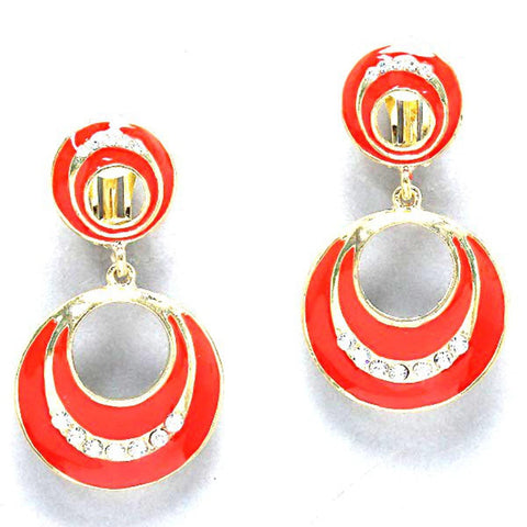 Enamel Dangle Clip on Earrings / AZERCO083-GRC