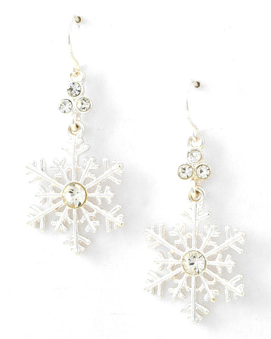 Christmas Theme - Snowflake Dangle with Fish Hook Earring Set / Silver Tone / Azerfh144-sil-chr
