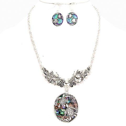 Sea Life Theme Abalone Medallion Necklace Set / AZNSSEA009-SBL