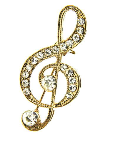 Gold Music Theme Brooch / AZBRMU004-GCL