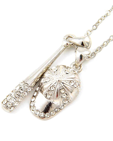Baseball Bat & Cap Pendant Necklace / Rhodiumized / Clear Rhinestone / AZSJCH008-SCL