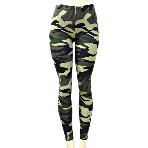 Fashion Trendy Stylish Camouflage Polyester Leggings for Girls & Women / AZPALE015-OLV