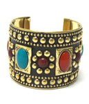 Arras Creations Fashion Trendy Ethnic Multi Studs Stone Cuff bracelet For Women / AZBRCF030-GML