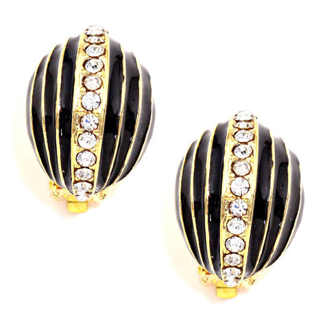 Crystal Accented Oval Dome Enamel Clip on Earrings / AZERCO254-GBC