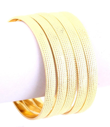 Traditional but Fashionable Bangle/Multi Pieces - Set of 4 - Gold Tone for Women