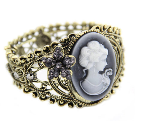 Fashion Trendy Crystal Cameo Cuff Bangle Bracelet For Women