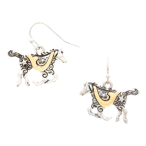 WESTERN THEME Two Tone metal Horse earrings / AZERSW245-SGL