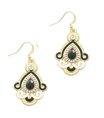 Fish Hook Drop Metal Theme Color Tear Drop in Black White and Gold / AZERFH262-GBW