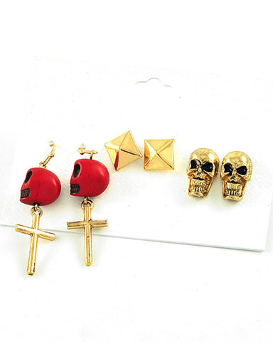 Antique Gold Tone / Red Stone / Skull / Halloween / Fish Hook & Post Earring Set