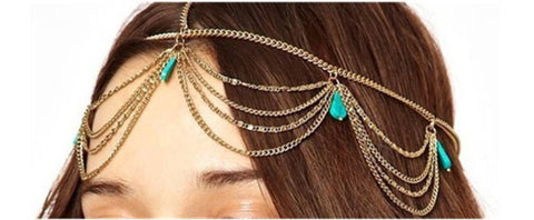 Fashion Trendy Dangle Turquoise Head Chain Head Wrap/Head Accessory for Women