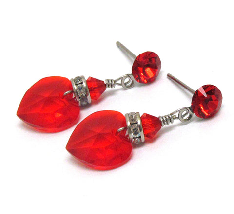 Crystal Heart & Rondelle Drop Earring - Silver/Red