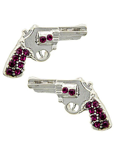 WESTERN THEME Revolver Gun Button Post Earring / AZERSW690-SDP