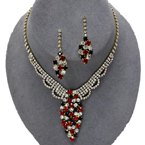 Arras Creations Trendy Fashion Bridal Rhinestones Necklace Set For Women / AZBLRH064-GRC