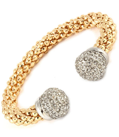 Hollow Popcorn Chain Cuff Bracelet with Crystal Studs Ball / AZBRCF028-GCL