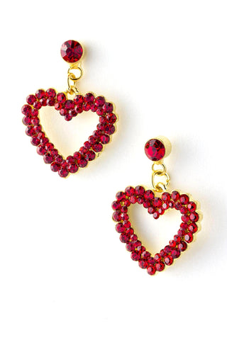 Valentine Jeweled Heart Dangle Earrings / AZERFH202-GRD-HRT